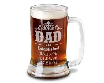 Dad Gift Daddy New Dad Beer Mug 16 Oz  Engraved Beer Glass Father's Day Gift Idea Etched from daughter son and wife for Fathers Day