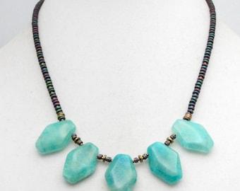 Boho Fringe Necklace. Boho Bib Necklace. Apatite Necklace. Fringe Bead Necklace. Blue Apatite Necklace. Gift for Her. TaraLynEvans. FALA