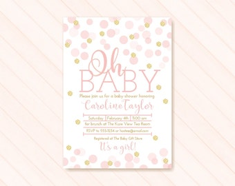 Pink and Gold Baby Shower Invitation, Pink Gold Glitter Baby Girl Shower Invitation, Pink Oh Baby, It's a Girl Baby Shower Invite, PRINTABLE