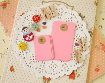 Pastel Pink reinforced Rounded Midi Tags