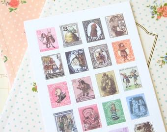 Alice in Wonderland cartoon Postage Stamps scrapbooking stickers