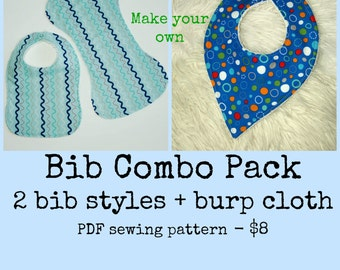 Bandana bib set, Bib and burp cloth set, Newborn accessories, Baby bib pattern, Newborn sewing pattern, Toddler bib pattern, Baby pattern