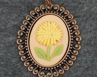 Yellow Daisy Cameo Pendant Necklace
