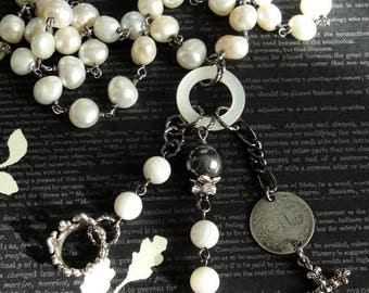 LOURDES Cross Antique French Medal Assemblage Necklace. White Freshwater Pearl Rosary Chain. Sterling Crown. 3 Pence Coin. Marcasite Cross