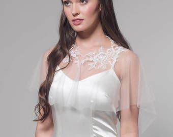 Bridal Cape, Bridal Capelet, Bridal Cover Up, Bridal Separates, Cape, Lace Appliqués Capelet, Bridal Lace Capelet, Wedding Cape, Alexa
