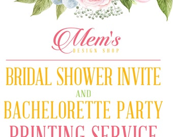 Mem's Design Shop Bridal Shower Invitation & Bachelorette Party Invitations printing service