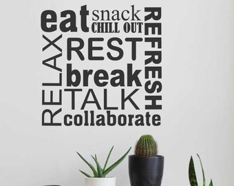 Breakroom Collage, Break room Decal, Vinyl Wall Lettering, Vinyl Wall Decals, Vinyl Letters, Vinyl Lettering, Wall Quotes, Office Decal