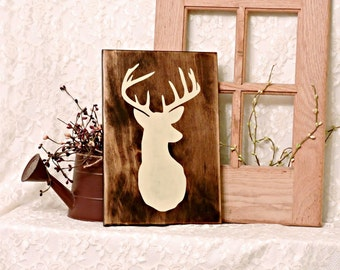 Deer Head Silhouette - Primitive Country Painted Wall Sign, Wall Decor, Man Cave Decor, Hunting Decor, Ready to Ship