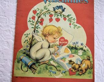 Vintage 1946 SAALFIELD VALENTINE CARD Book Holiday Boy Girl School Puppy Dog Kitty Cat Red Heart Bluebird Cupid Angel Envelope Make Your Own