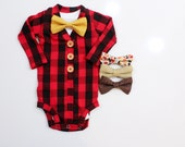 Buffalo Plaid Cardigan. Baby Boy Christmas Outfit. Newborn Coming Home Outfit. 1st Birthday. Baby Lumberjack Outfit.  Mustard Fall Bowtie