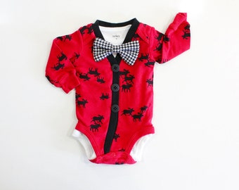 SALE!  Moose Cardigan. Only 6m left. Baby Boy Cardigan. Christmas Outfit. Bowtie Cardigan.