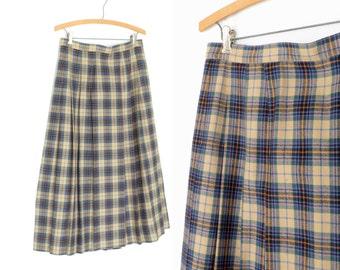 Vintage Plaid Skirt * Pleated Wool Skirt * 80s Tea Length Skirt * Medium