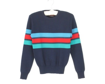 Vintage Ski Sweater * Knit Pullover Top * 80s Wool Sweater * Small