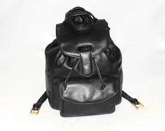 Vintage BOTTEGA VENETA Backpack Black Pressed Leather Rucksack -Authentic-