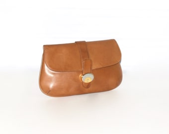 GUCCI Vintage Clutch Handbag Tan Leather - AUTHENTIC -