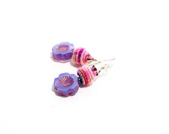 Colorful Fiber Bead Earrings. Lavender Bead Earrings. Small Dangle Earrings. Boho Gypsy Earrings. Gifts for Her. Fiber Bead Jewelry.