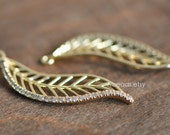 5pcs Micro Pave Gold Leaf Pendants 37mm, 24K Gold plated Brass Leaf Charms (GB034)