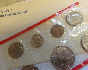 1981 US Mint Uncirculated Coin Set Perfect Birthday Anniversary Gift