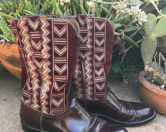 Vintage LUCCHESE leather southwestern boots size 8.5 / Burgundy leather and suede / Hand painted southwestern tribal design