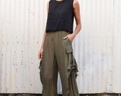 Vintage Japanese Avant Garde 1990's Sheer Gauzy Wide Leg High Waisted Palazzo Crop Pants S/M