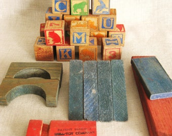 Antique Wooden Building Blocks, Letters, Animals, Learning Toys, Wood, Collection of Blocks, Children, Child, Nursery Decor, Kids Room