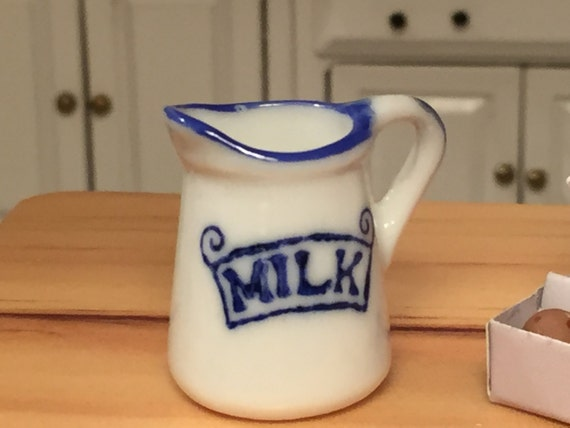 Miniature Milk Jug, Mini Pitcher, Dollhouse Miniature, 1:12 Scale, Ceramic Jug, Dollhouse Kitchen Decor, Accessory, White and Blue Jug