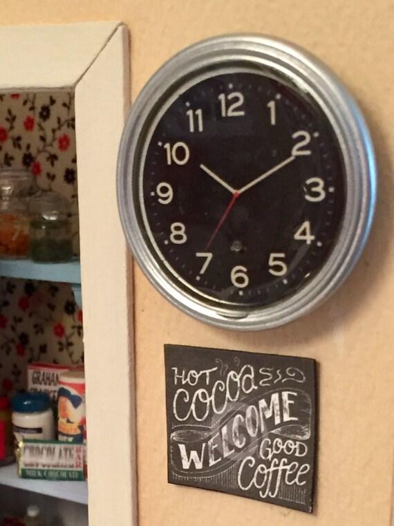 Miniature Silver Wall Clock, Dollhouse Miniature Accessory, 1:12 Scale, Dollhouse Decor, Mini Clock, Black Face, White Numbers, Silver Clock
