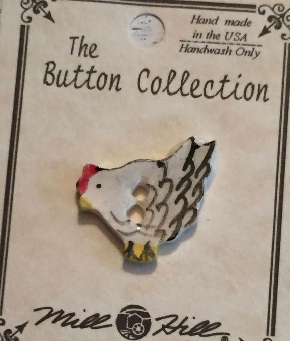 Ceramic Chicken Button, Hand Painted, Mill Hill Button Collection, Bird Button, Sewing, Crafting, Cross Stitch, Embellishment