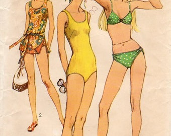 1970s Womens Bathing Suit Bikini Swimsuit - Vintage Pattern Simplicity 9321 - Size 16 Bust 38