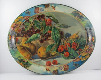 Antique Tin Litho Tray Basket Of Cherries with Butterfly Border