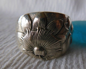 Antique Spoon Ring  Sterling Silver  Size 7.5   Sunflower