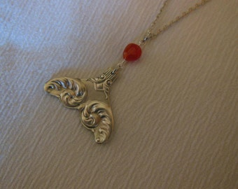 Mermaid Tail with Carnelian Gemstone Bead   Antique Spoon Necklace