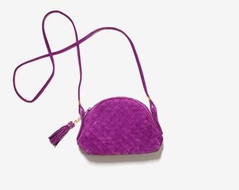 Vintage Leather Mini Purse / Mini Leather Bag / Quilted Leather Purse / Suede Leather Bag / Cross Body Purse