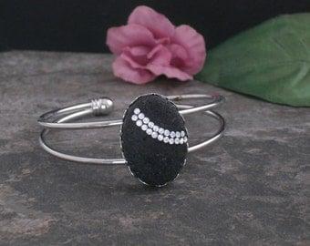 Bracelet Silver Bangle with Lava Stone and Swarovski Crystal, Black Stone Bracelet, Black and Silver Rhinestone Bracelet