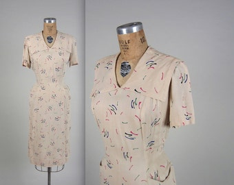 1940s confetti novelty print dress • vintage 40s dress • cotton gabardine dress