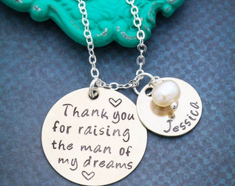 Mother in Law Gift Thank You for Raising Man of My Dreams • His Mom in Law Gift • Quote Wedding Necklace Jewelry Wedding Party