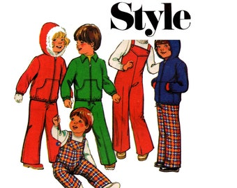 70s Toddlers Overalls Dungarees & Hooded Jacket Pattern Style 2018 Vintage Sewing Pattern Size 2 chest 21 inches UNCUT Factory Folded