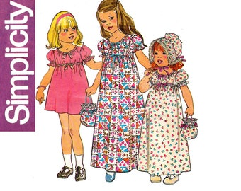 Simplicity 7275 Toddler Girls Maxi Dress Bonnet Bag Holly Hobbie Style 70s Vintage Sewing Pattern Size 2 Breast 21 inches