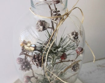 Woodland Cloche. First Snow. Berries & Pine. Dome Cloche Assemblage Art. Winter Holiday Decoration.