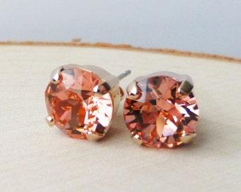 Peach Rose Swarovski Stud Earrings, Crystal Rhinestone Rose Gold Stud Earrings, Rose Gold Round Crystal Studs, Diamond Cut, Gift for Her