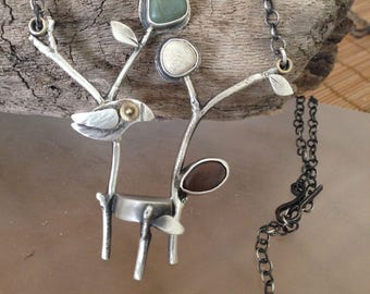 Twig Chair with Bird necklace OOAK, sterling silver, beach stones, watch parts, gold