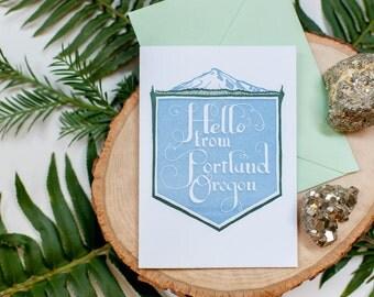 Letterpress Hello From Portland Card