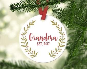 Grandma Gift Pregnancy Announcement Grandma Christmas Ornament New Grandma Gift Grandma Ornament Grandma Pregnancy Reveal Grandma Red