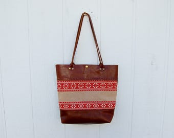 Red Woven Vintage Textile Cognac Leather Tall Travel Tote