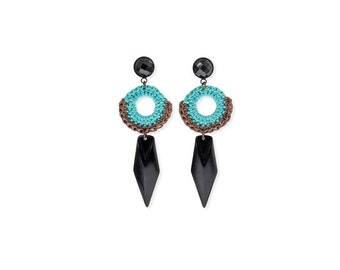 Turquoise Boho Earrings, Black Spike Earrings, Dagger Edgy Earrings, Statement Tribal Jewelry