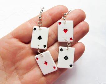 Cute Playing Card Earrings / Poker Earrings / Vegas / Cards / Lucky / Earrings
