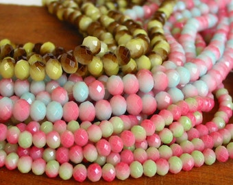 """7"""" / 14"""" 6mm 8mm Bicolor Coat designer glass rondelle Beads faceted crystal - Brown Yellow - Pink Blue / Green - PICK Size / Color"""