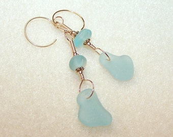 Light Blue Sea Glass Earrings Gold Dangle Beach Glass Unique Jewelry Pastel Blue Drop Earings for Pierced Ears Aqua Blue 2 Inch Dangles