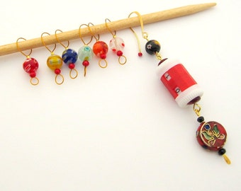 Bead Knitting Stitch Markers with Removable Stitch Marker and Counter - Set of 7 - Round Millefiori