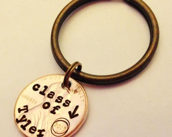 Graduation Gift, CLASS of 2018: Personalized Stamped Penny Keychain Keepsake Jewelry, High School Graduate, College Grad; 3 Key Chain COLORS